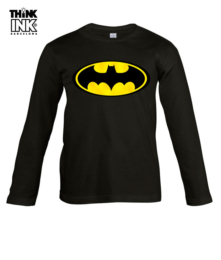 cb34768af Camiseta Logo Batman para niño manga larga - Think Ink Barcelona
