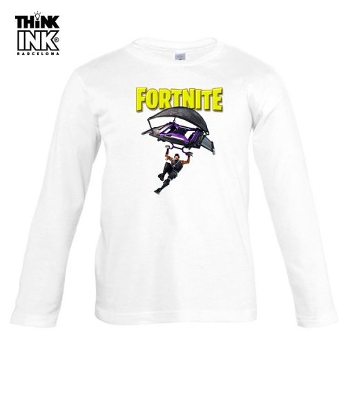Camiseta manga Larga Fortnite Paracaidas