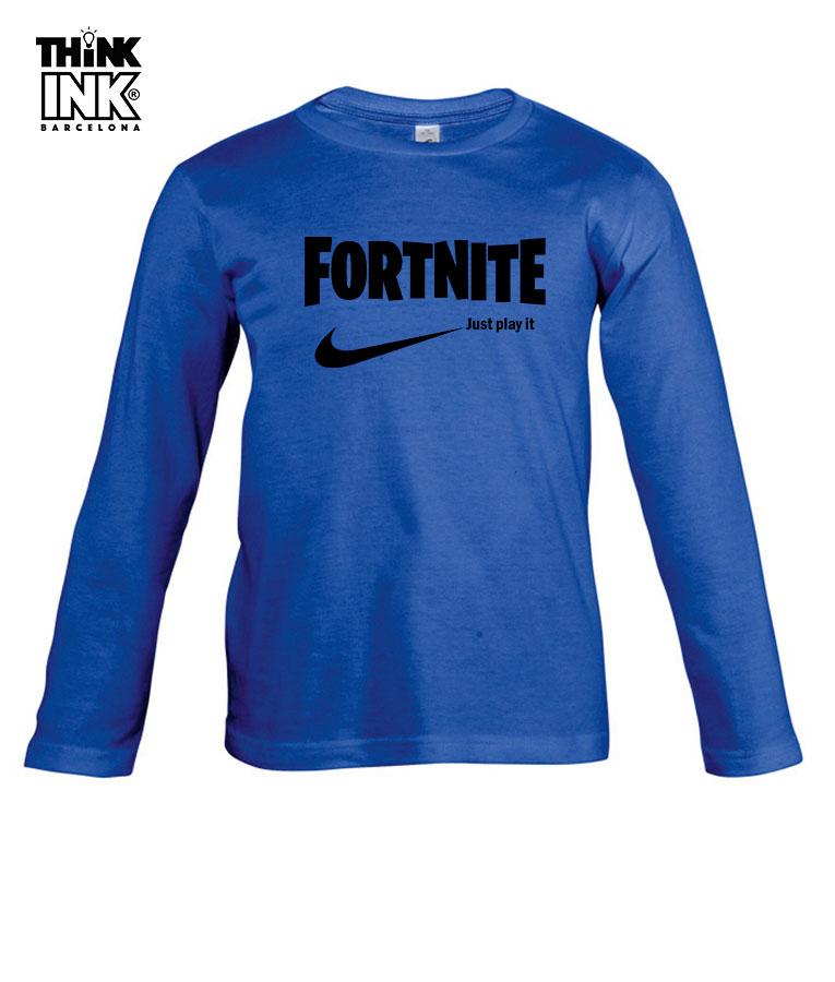 calidad y cantidad asegurada más cerca de diseño innovador Camiseta Fortnite logo Nike para niño manga larga