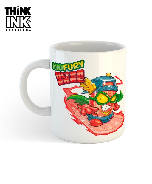 Taza Superzings Kid Fury surfeando
